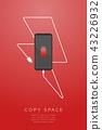 Smartphone black color flat design low battery 43226932