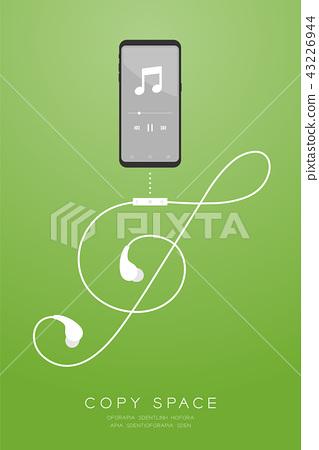 Smartphone black color and Earphones wireless 43226944