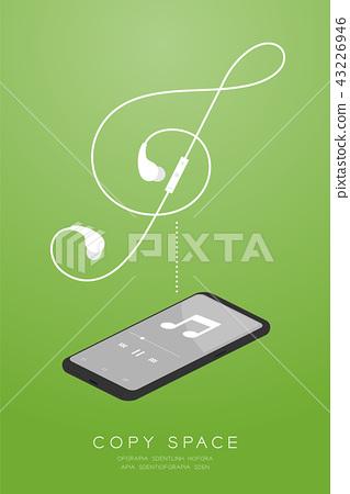 Smartphone black color and Earphones wireless 43226946