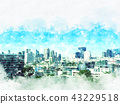 Building in city on watercolor painting background 43229518