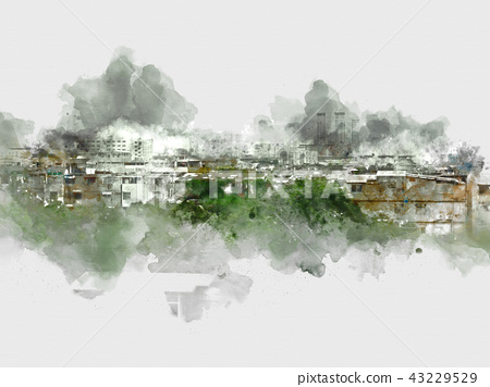 Building in city on watercolor painting background 43229529