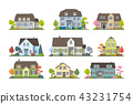 Set Of Classic Cottage House, Front View. 43231754