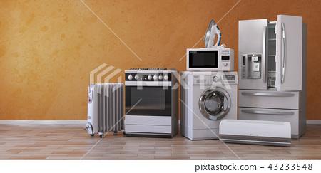Set of household kitchen technics on yellow 43233548