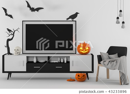 Halloween poster mock up in room and pumpkins 43233896