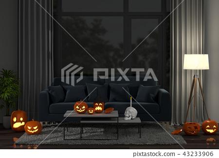 3D render Halloween party in living room   43233906