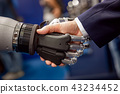 Hand of a businessman shaking hands with a robot. 43234452