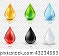 Vector set  transparent drops of various most common liquid subs 43234993