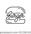 Burger. Burger lettering illustration. Burger label badge emblem 43236418