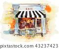 European retro restaurant or cafe Watercolor illustration 43237423