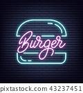 Burger. Burger neon sign. Neon glowing signboard banner design 43237451
