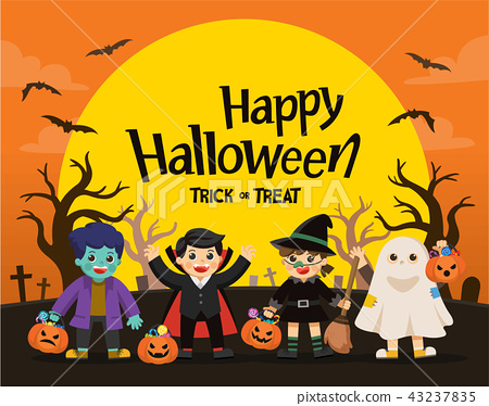Children Trick or Treating on Halloween. 43237835