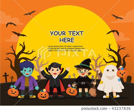 Children Trick or Treating on Halloween. 43237836