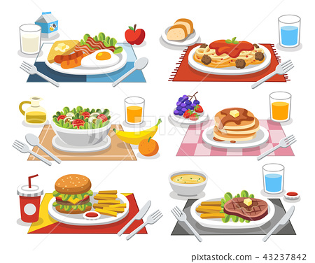 Sample food at each meal. Meals of people. 43237842