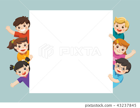 Children looking at blank sign with copy space. 43237845