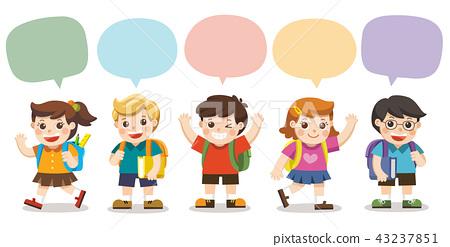 Cute kids go to school with speech frame. 43237851