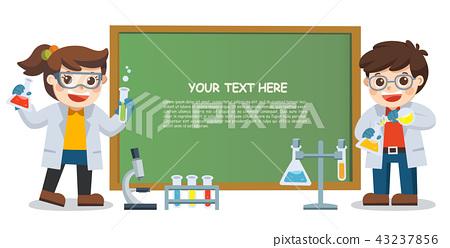 children doing science lab experiment. 43237856