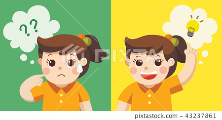 Learning And Growing Children A Girl Thinking Stock Illustration 43237861 Pixta