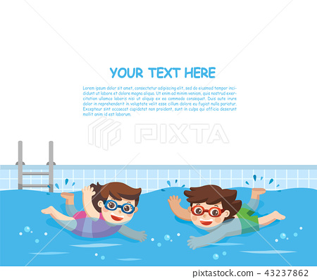 Boy and Girl swimming in the swimming pool. 43237862