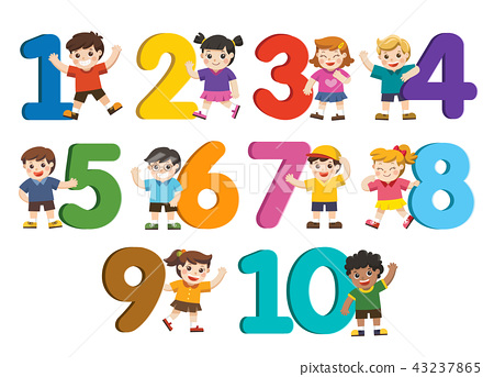 School kids and colorful number. 43237865