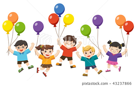 kids are jumping and holding balloons. 43237866