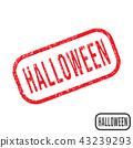 Halloween rubber stamp with grunge texture design 43239293