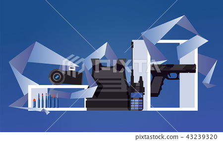 Vector scene with military object like flak jacket 43239320