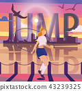 Young woman jumping with rope on pier. 43239325
