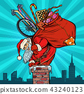Activities and games. Santa Claus with gifts climbs into the chi 43240123