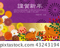 sign of the hog, twelfth sign of the chinese zodiac, new year's card 43243194