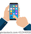 Hand touching smart phone with icons on the screen 43244958