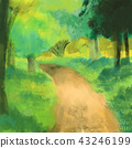 Green nature with path way background 43246199