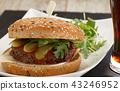 Homemade hamburger closeup 43246952