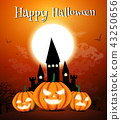 Happy Halloween night background with dark castle and pumpkins, Vector illustration. 43250656