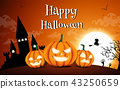 Happy Halloween night background with dark castle and pumpkins, Vector illustration. 43250659