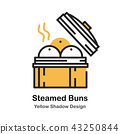 Steamed Bun Lineal Color Illustration 43250844