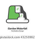 Garden waterfall Outline Flat illustration 43250962