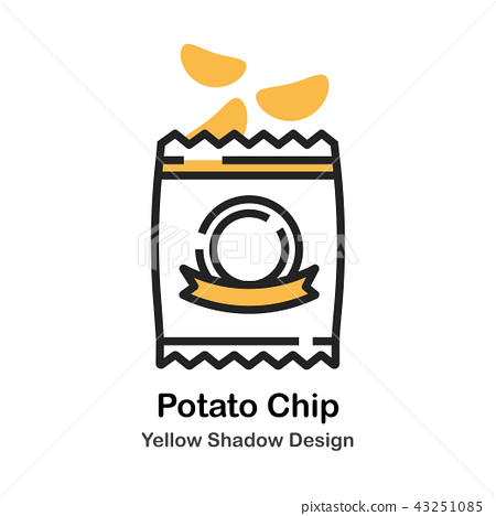 Potato Chip Lineal Color Illustration 43251085