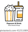 Popcorn and Soda Lineal Color Illustration 43251089
