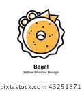 Bagel Lineal Color Illustration 43251871