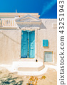 Typical blue door in Emporio on the island of Santorini, Greece, Southern Europe 43251943