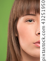 The close up eyes on face of young beautiful caucasian girl 43251950