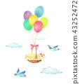 气球,婴儿和蓝鸟 43252472