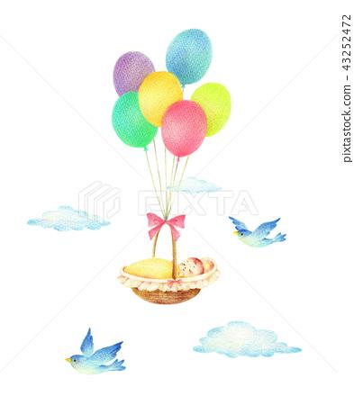 풍선과 아기와 파랑새 43252472