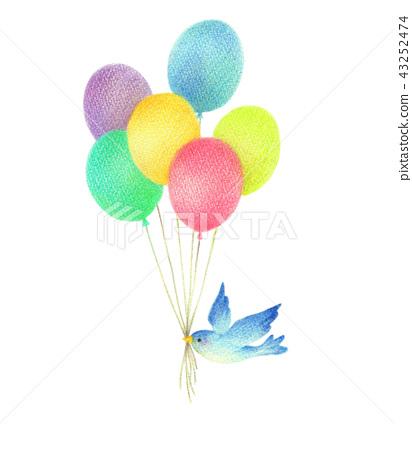 氣球和藍鳥 43252474