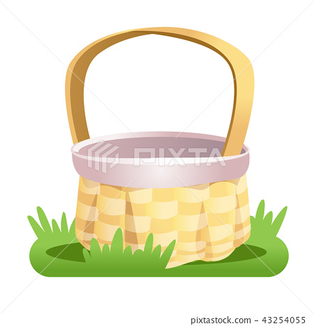 Wicker empty basket on the green grass isolated  43254055