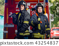 Photo of two firemen with axes in hands near fire engine 43254837
