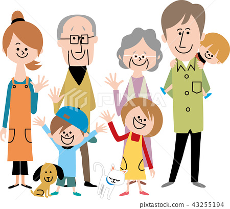 행복한 세 가족과 애완 동물들 43255194