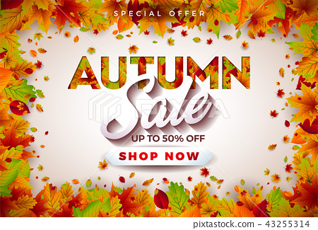 Autumn Sale Design with Falling Leaves and Lettering on White Background. Autumnal Vector 43255314