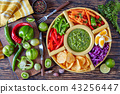 green salsa verde and mexican set for tacos 43256447