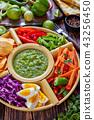 green salsa verde and veggies set 43256450